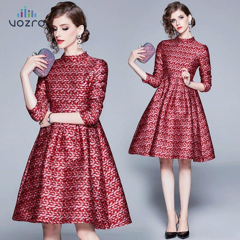 VOZRO 2020 costume-robe automne Jacquard tissage auto-culture maigre longue hiver Maxi robe de soirée femmes robes Vintage