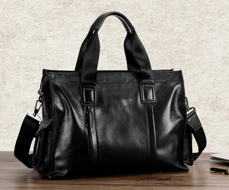 wear Resistant Exquisite Men Briefcase Genuine Leather Retro Style Bag Shoulder Crossbody Business Bags Bolso Hombre DF100