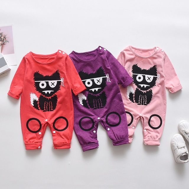 2018 New Newborn Baby Boys Girls Romper Animal Printed Long Sleeve Winter Cotton Romper Kid Jumpsuit Playsuit Outfits Clothing 5