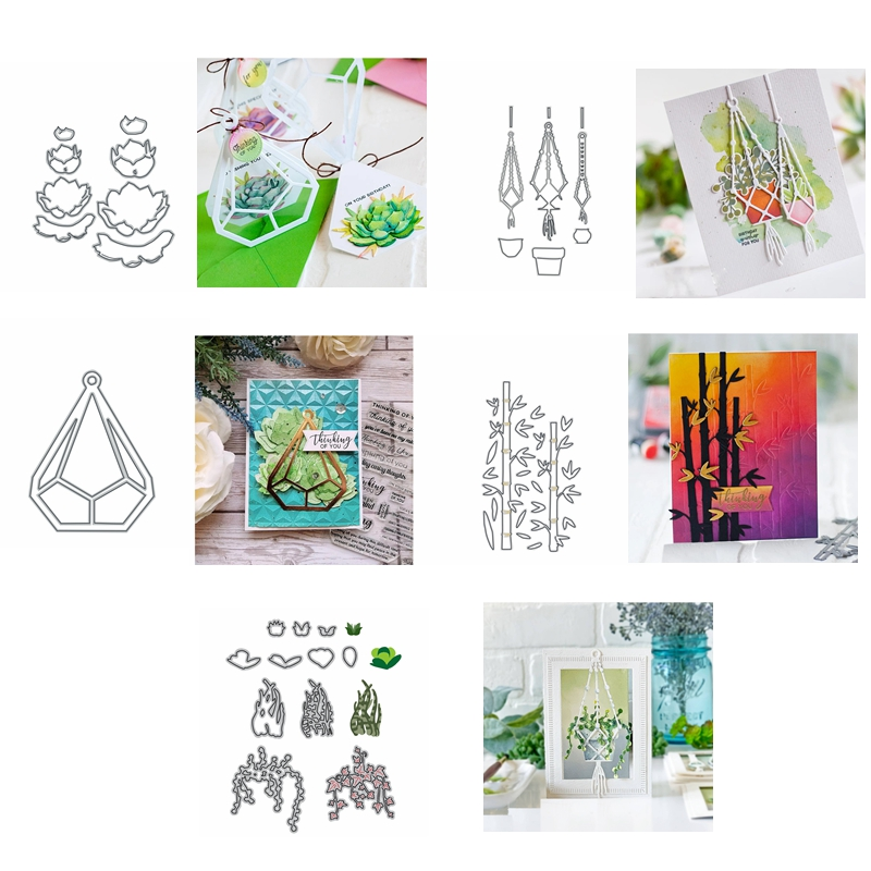 Metal Cutting Dies Green Plants Succulent Bamboo Aloe Baskets cut die for DIY Scrapbooking Crafts new 2019 Embossing Die Cuts in Cutting Dies from Home Garden