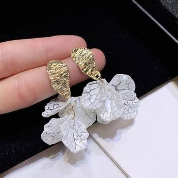 AENSOA Korean White Shell Crack Flower Petal Drop Earrings For Women 2020 New Cute Sweet Irregular.jpg 350x350 - White Shell Crack Flower Petal Drop Earrings