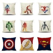 Cartoon America Super Hero Cushion Cover Cute Creative Movie Hero Pillow Case Cotton Linen Decorative Pillowcase Cushion Cover