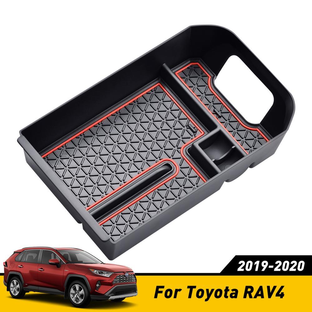 Ajuste para Toyota RAV4 RAV 4 2019 2020, caja de almacenamiento, reposabrazos Central, soporte para guante, placa, contenedor de coche, organizador, accesorios