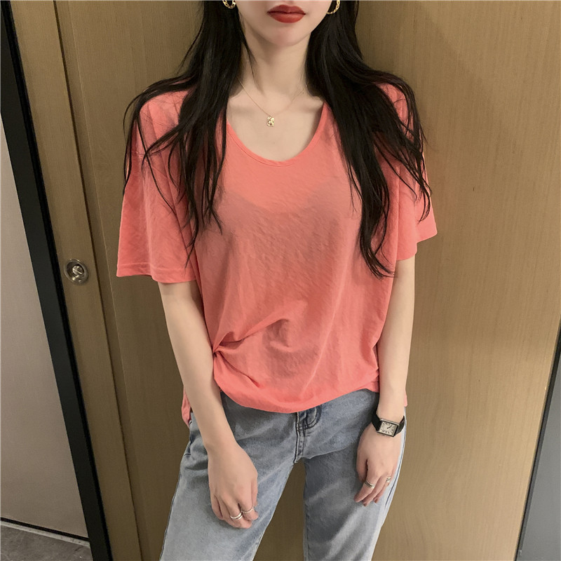 Hsa Women T Shirt Short Sleeve Tops Strappy Cold Top Tee Women Big Neck Casual Top Tees Oversized T-Shirts Women Clothes 2020