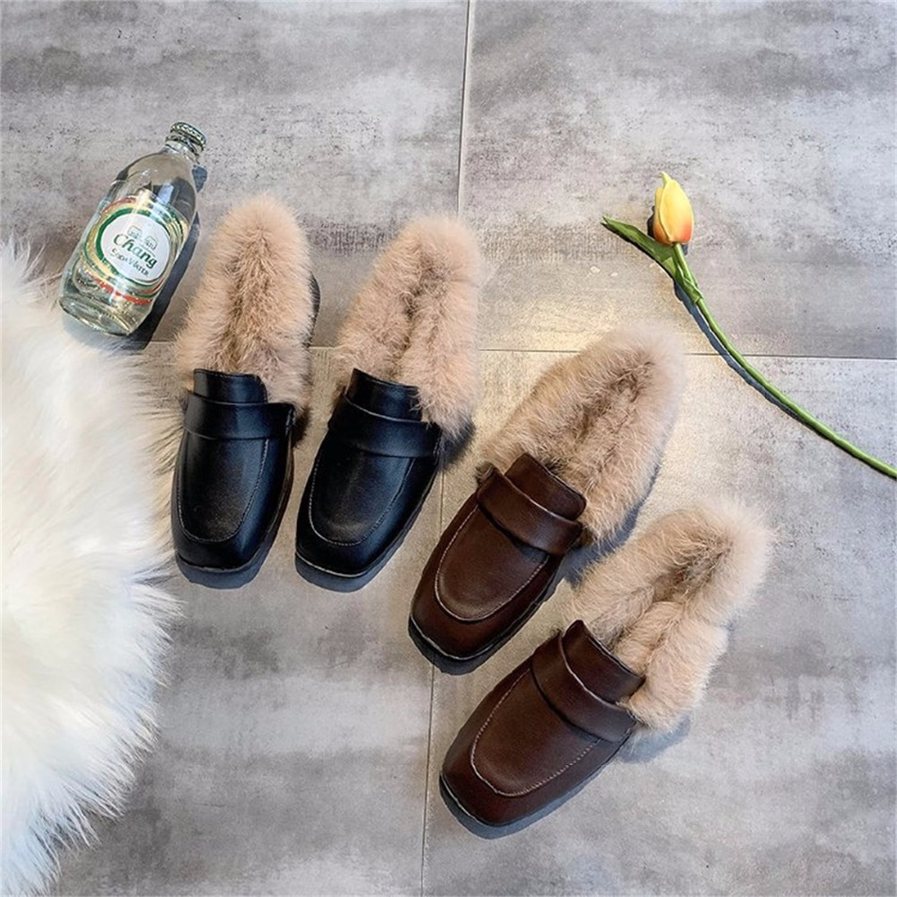 Autumn winter casual women shoes fluffy warm fluffy lining fashion black brown square toe women's shoes 29