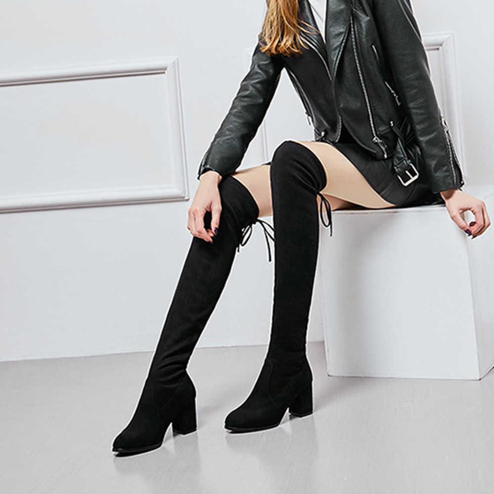 ต้นขาสูงรองเท้าหญิงฤดูหนาวรองเท้าผู้หญิงกว่าเข่าบู๊ทส์ส้นยืดเซ็กซี่สีดำแฟชั่นรองเท้าใหม่ขี่รองเท้า