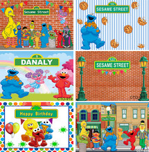 Happy Birthday Photography Backdrops Sesame Street Elmo World Party Bricks Wall Photo Background for Pictures Customize