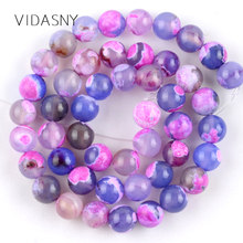 Natural Stone Rose Red Blue Fire Agates Round Beads For Jewelry Making 6 8 10mm Spacer Loose Beads Diy Bracelet Necklace 15'' natural green blue fire agate for jewelry making necklace round loose stone beads gemstone 6 8 10mm diy bracelet necklace