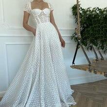 Uzn элегантное белое милое Кепки рукава кружевное платье для
