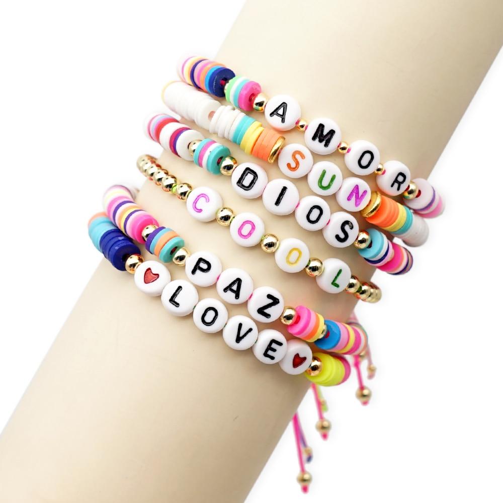 GO2BOHO Heishi Beads Bracelets For Women Summer Bracelet 2020 Letter Custom Pulseras Rainbow Boho Multicolor Handmade Jewelry
