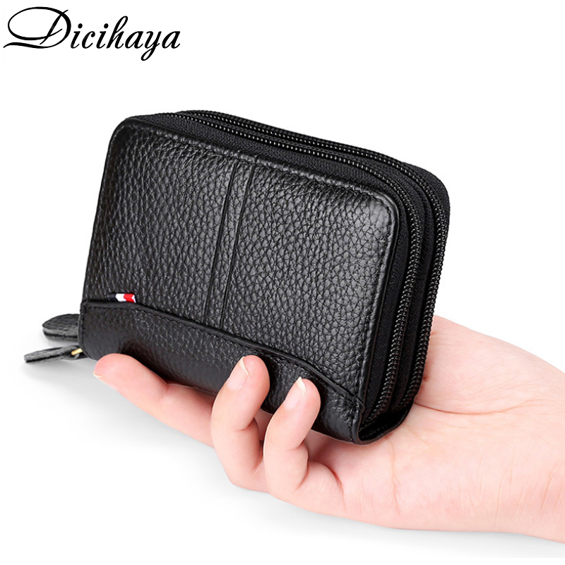 DICIHAYA Men Wallets Genuine Leather Double Zipper Card Wallet Small Purse For Man Wallet Men Black Coffee Carteira Card Holder
