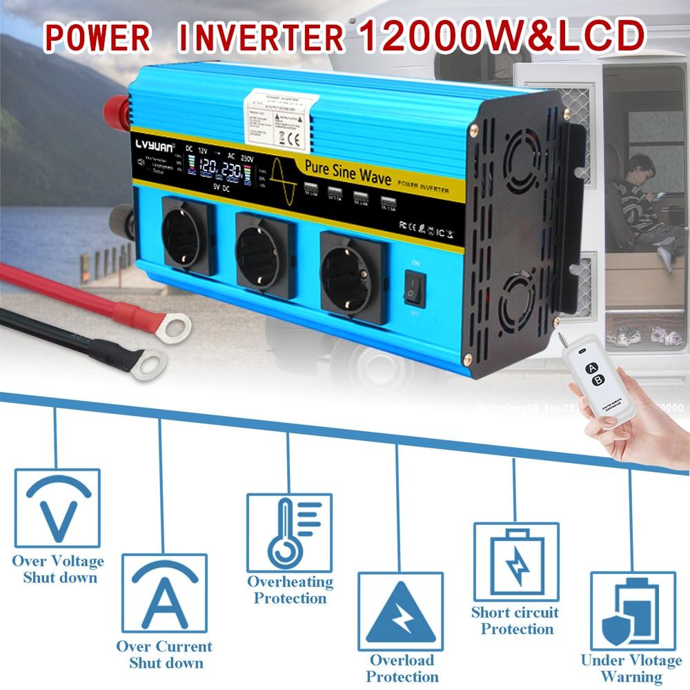 12000W pure sine wave inverter DC 12V to AC 220V 230V LCD voltage display solar power inverter EU socket wireless remote control