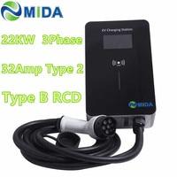 Three Phase 32A Wallbox 22KW EV Charger Type 2 EV Cable IEC 62196 2 AC 400V RFID Card LED Screen EV Charging Station