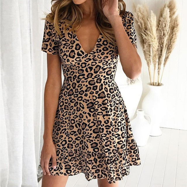 New women's dress fashion sexy V-neck leopard print short sleeve dress different colors available new платье женское 50* 2