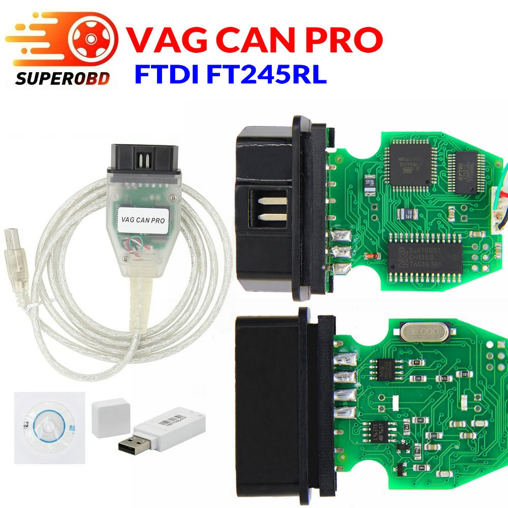 VAG CAN PRO V5.5.1 With FTDI FT245RL Chip VCP OBD2 Diagnostic Interface USB Cable Support Can Bus UDS K Line