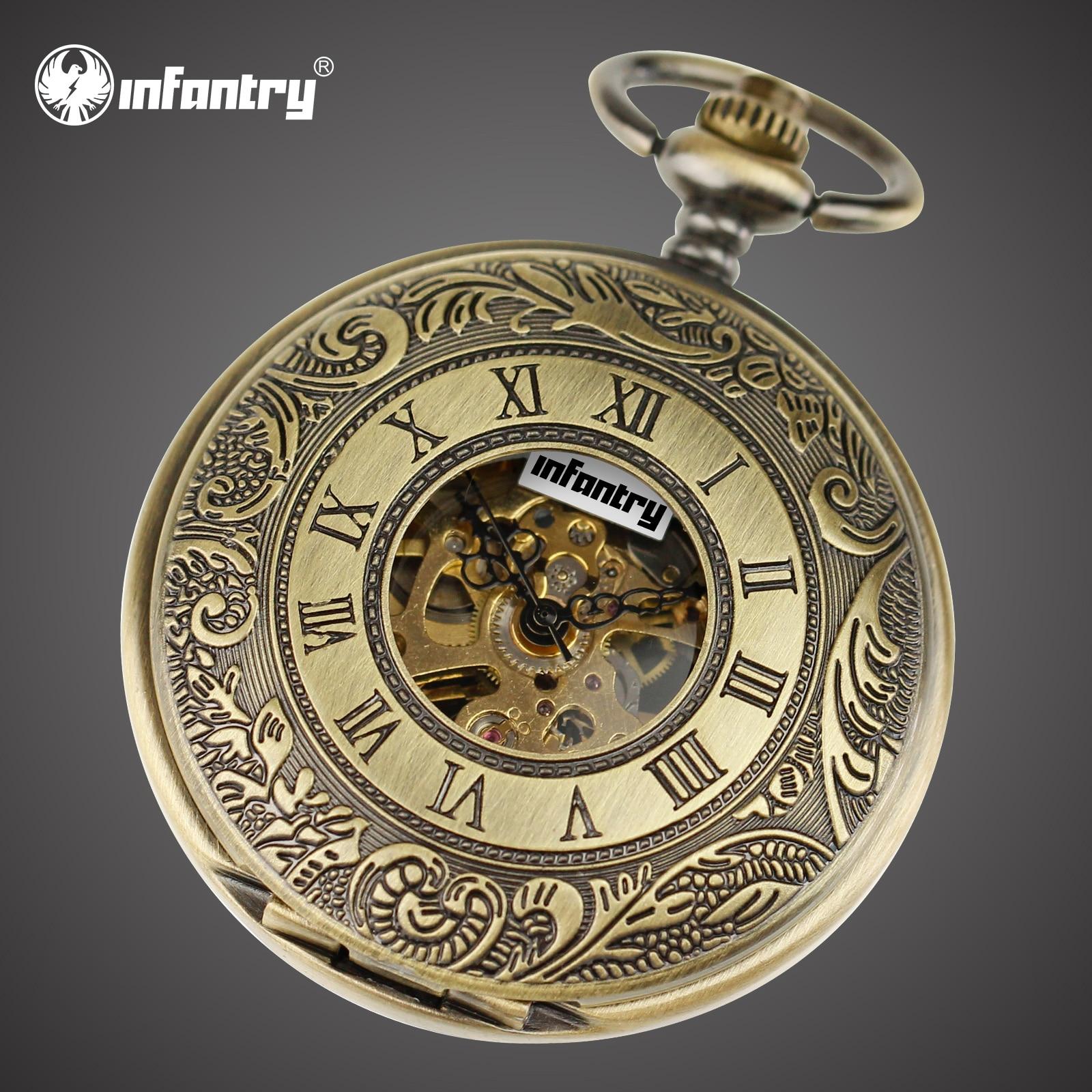 INFANTRY Pocket Watch Vintage Mechanical Skeleton Full Metal Alchemist Steampunk Keychain Fob Clock Chain Pocket Watches Men