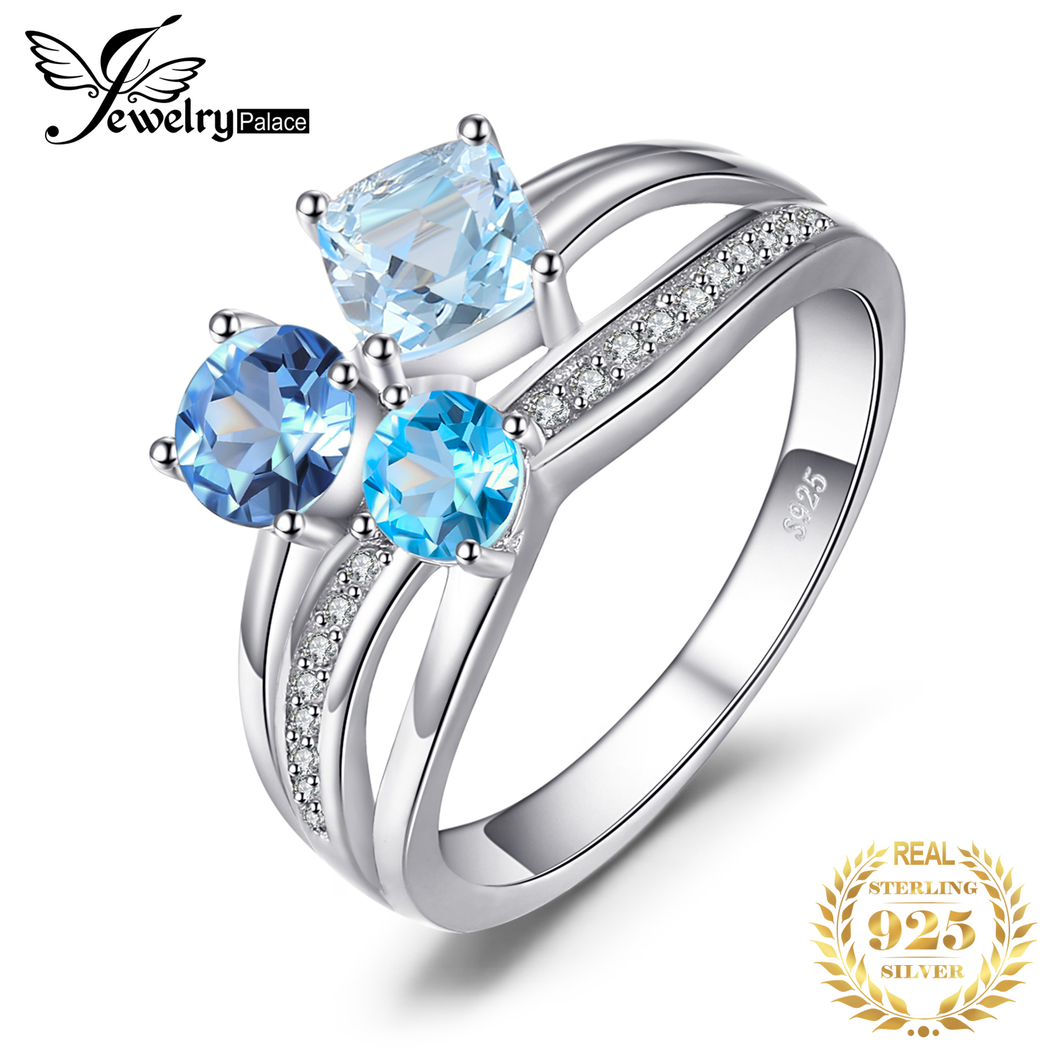 JewelryPalace 2ct 3 Stones Genuine Multi London Blue Topaz Ring 925 Sterling Silver Rings For Women Silver 925 Gemstones Jewelry