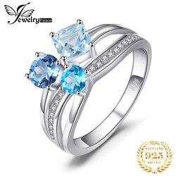 Joyeria Palacio 1.7ct genuino Multi Londres Topacio Azul 3 piedras anillo genuino 925 joyería de plata esterlina para mujeres regalo de fiesta fina