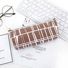 Холст Карандаш Чехол школьная карандашная сумка простые полосатые сетки Карандаш Чехол для школы