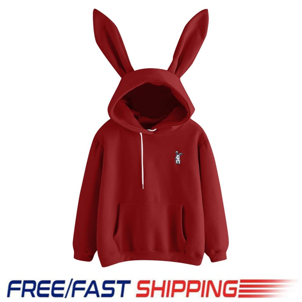 Cute Bunny Hoodies 3D Ears Sweatshirts Long Sleeve Pullover Tops Women Casual Clothes Autumn Winter Warm Outwear New Coat S-XL