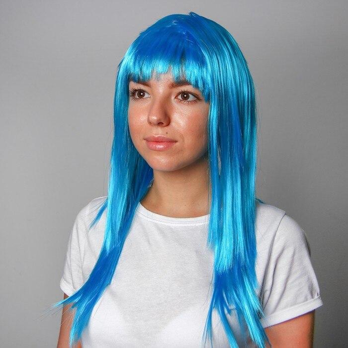 Карнавальный парик, длинные прямые волосы, цвет голубой, 120 г|Шляпы для вечеринок|   | АлиЭкспресс
