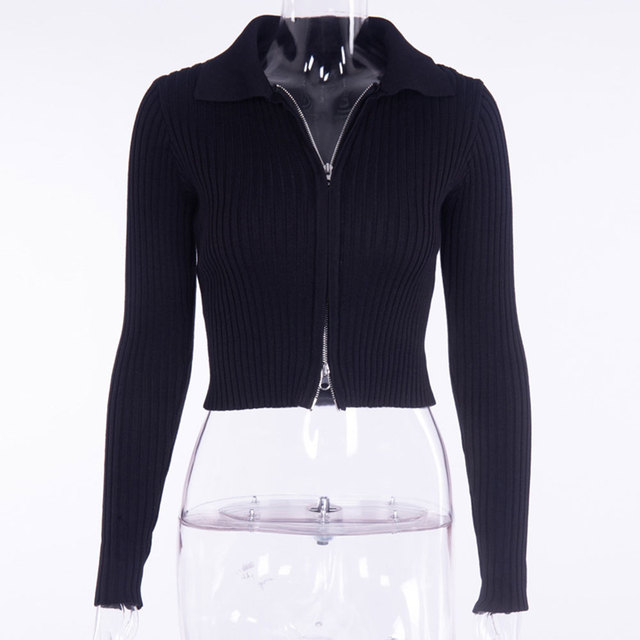 Jocoo Jolee Fashion Black Ribbed Zip-up Cardigans Casual Turn-down Collar Long Sleeve Autumn Sweater Sexy Cropped Tops Knitting 6