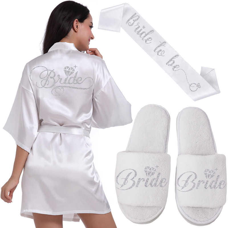 Silver Writing Bridal Wedding Robes Bride Bridesmaid Maid Of Honor Women Party Robe Custom Name And Date Get Ready Robes