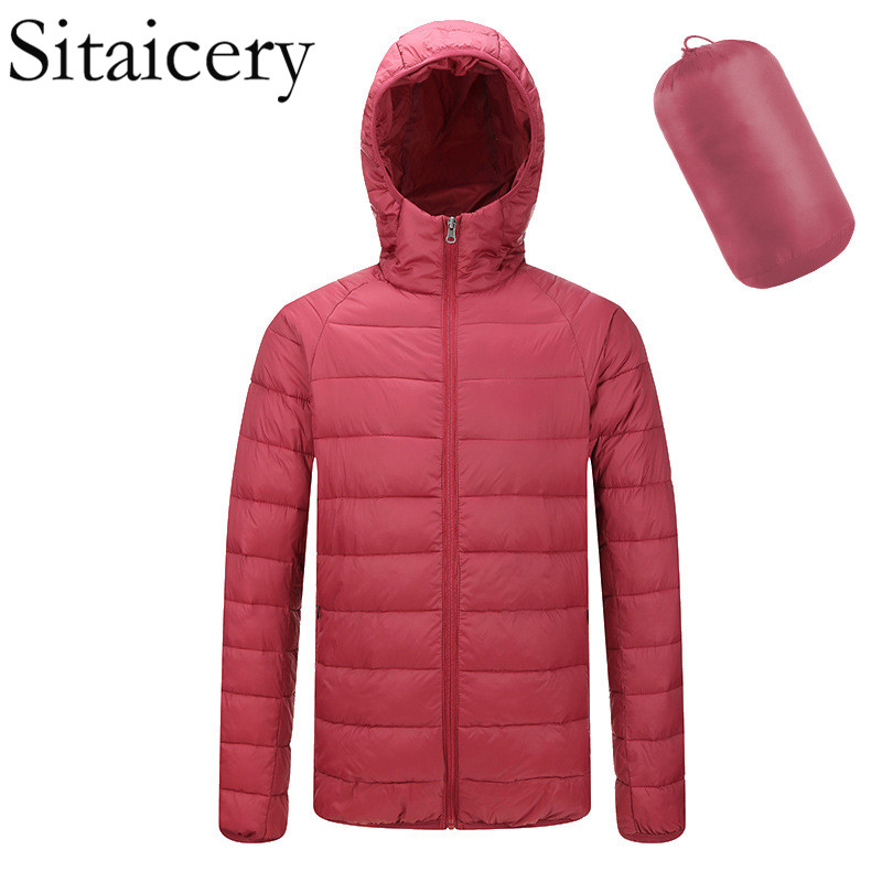 Sitaicery Autumn Winter Light Coat Fashion Men's Down Jacket Youth Casual Waterproof Hooded Ultra Thin Down Jacket Men Wholesale