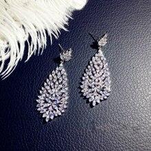 925 Sterling Silver Color Big Water Drop Bling Zircon Stone Stud Earrings for Women Korean Earrings Fashion Jewelry Best Gift big bling square zircon stone silver stud earrings for women korean earrings fashion jewelry 925 silver
