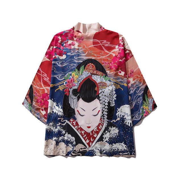 זכר הדפסת קימונו קרדיגן הדפסת חולצה חולצה יאקאטה גברים Haori אובי בגדי סמוראי בגדי יפני מקרית רך קימונו לגברים