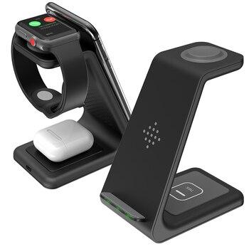 Bonola 3 in1 chargeur sans fil pour iPhone 11 Xs AirPods Apple Watch 23 support de