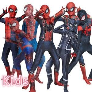 Image 1 - Hot Kids Spider Boy Costume Superhero Lycra Spider boy Cosplay Costume Zentai Halloween Costume With Mask