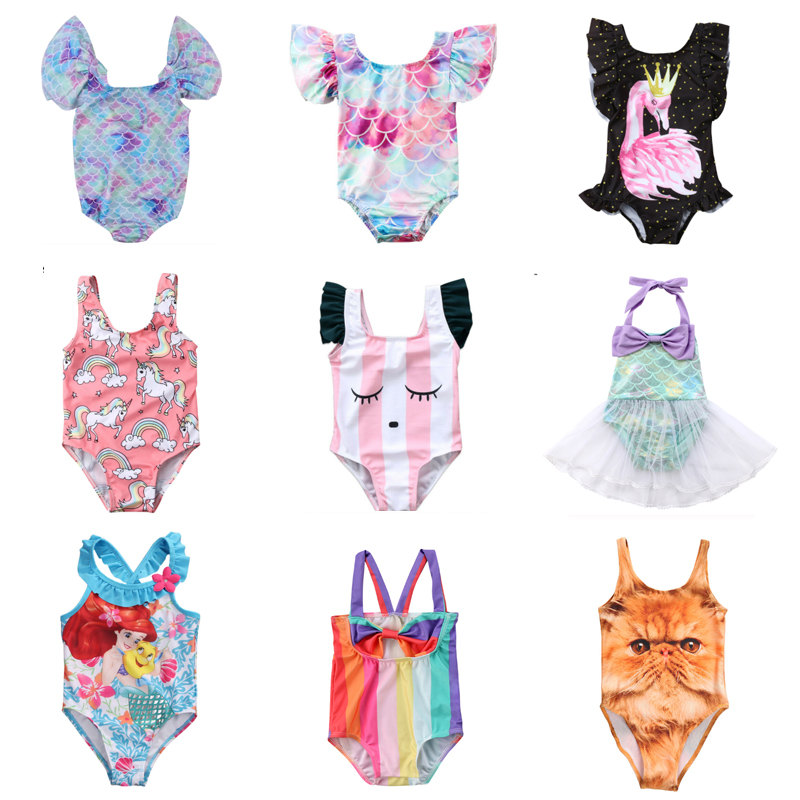 Summer Kid Children Swimwear Cartoon Swimsuit Baby Girls Swimwear Swimming Bikini One-Piece Bodysuit Beachwear Bath Suit