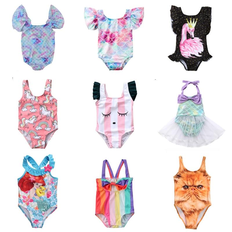 Summer Kid Children Swimwear Cartoon Swimsuit Baby Girls Swimwear Swimming Bikini One-Piece Bodysuit Beachwear Bath Suit