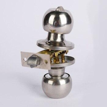 цена на Stainless Steel Round Ball Door Knob Set Knob Handle Handle Lock With Key for 25mm-45mm Door Hardware Sliver for Bathroom