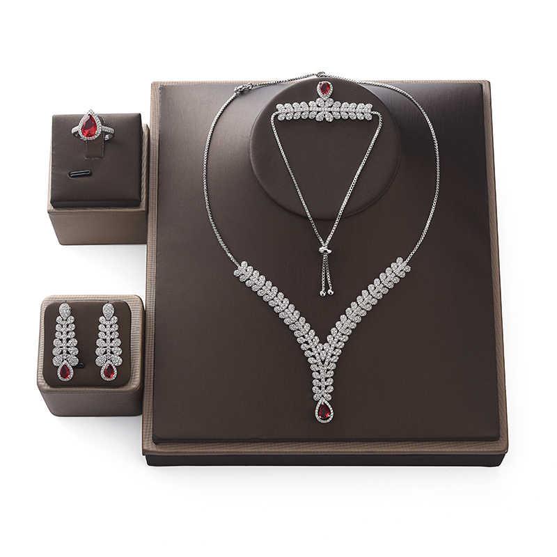 Tono oro CZ Circonia Cúbica Gota Colgante Collar Aretes Conjunto De Dama De Honor