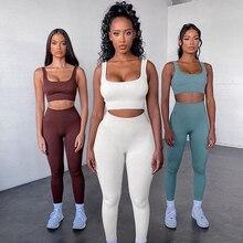 2Pcs/set Seamless Yoga Sets Women Gym Sports Set Elastic Sports Bra+seamless Hight Waist Leggings Sportswear Workout Set Women