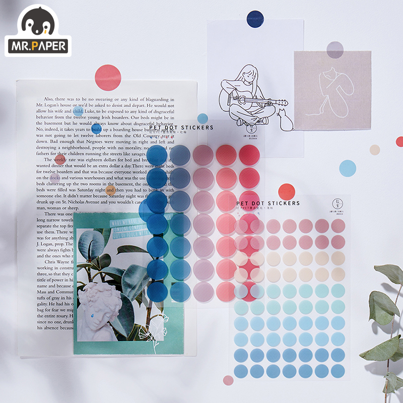 Mr.paper 7 Designs 3Pc Color Dot PET Sticker Scrapbooking Planner Laptop Japanese Cycle Toy Cool Doodling Decorative Stationery