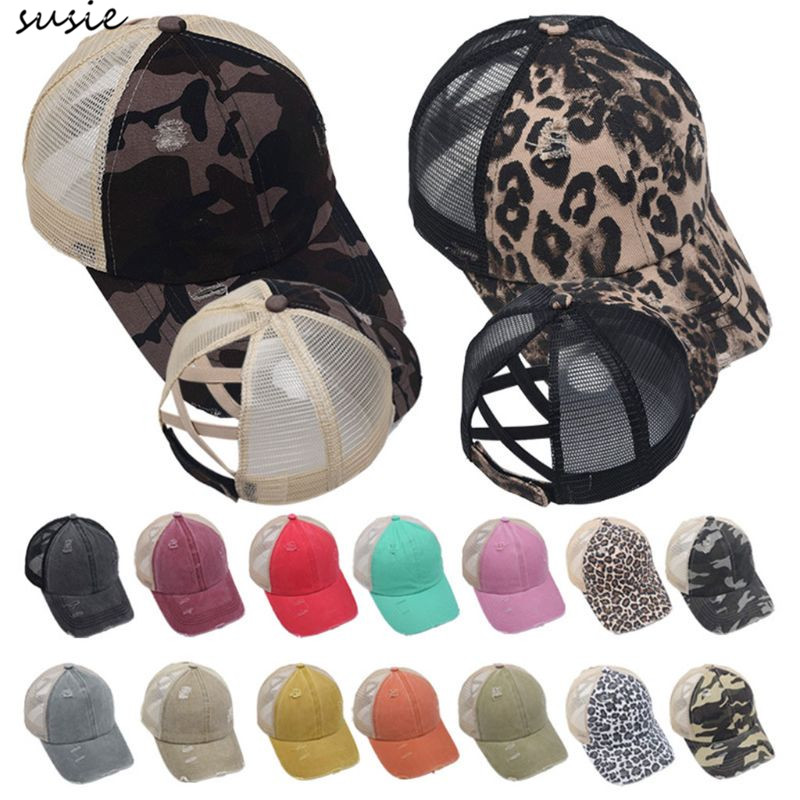 Women Distressed Washed Mesh Baseball Cap Leopard Camo Ponytail Band Trucker Hat X7YA