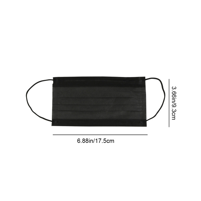 3layers 10/20/50pcs/Bag Mouth Mask Disposable Black Cotton Non-Woven Mask 5