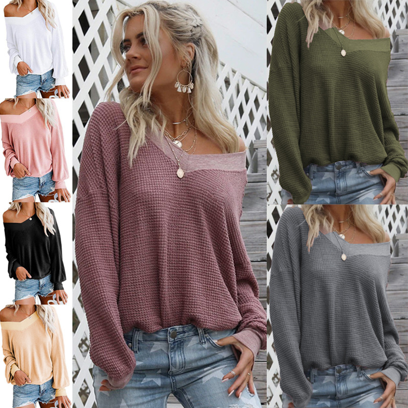 Hot Sale 2019 Autumn Winter Women Knitted  Sweater Casual Loose V-Neck Jumper Fashion Women Cotton Long Sleeve Solid Sweater Top