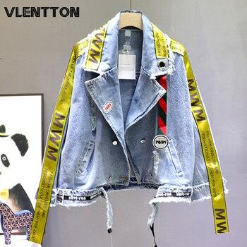 2020 Spring Autumn Women Fashion Streetwear Hole Denim Jacket Letter Ribbon Oversize Loose Jeans Coat Female Cowboy Outwear Tops