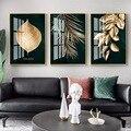 Абстрактная картина с изображением золотых растений, Листьев, Настенная Картина на холсте в скандинавском стиле, Современное украшение для...