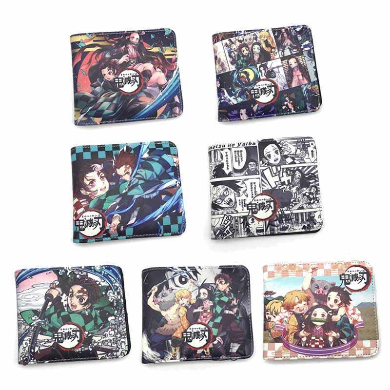 Demônio slayer: kimetsu não yaiba kamado nezuko bolsa carteira de couro do plutônio bi-fold carteira moeda bolsa