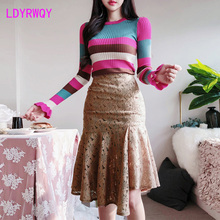 2019 winter Korean temperament slim knit color sweater sweater hip lace suit female two-piece Knee-Length  Regular  O-Neck