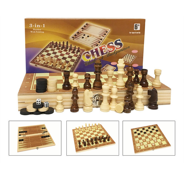 Jeu d'échecs en bois Backgammon dames 3 en 1 jeu d'échecs de voyage pièces d'échecs en bois et planche pour enfants adulte 5
