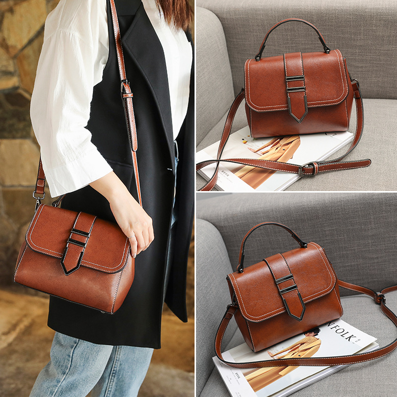 2018 new Chao Han version of fashion leather leather leather shoulder bag women's retro slit line slanted hand-held hand-held