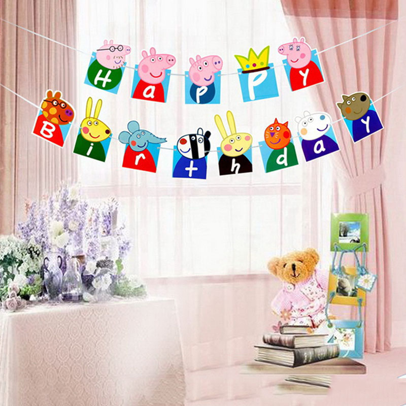 Peppa Pig Birthday Party Flag Sets Anime Figure Cartoon Party Decoration Supplies Activity Event Kids Birthday Gifts P05