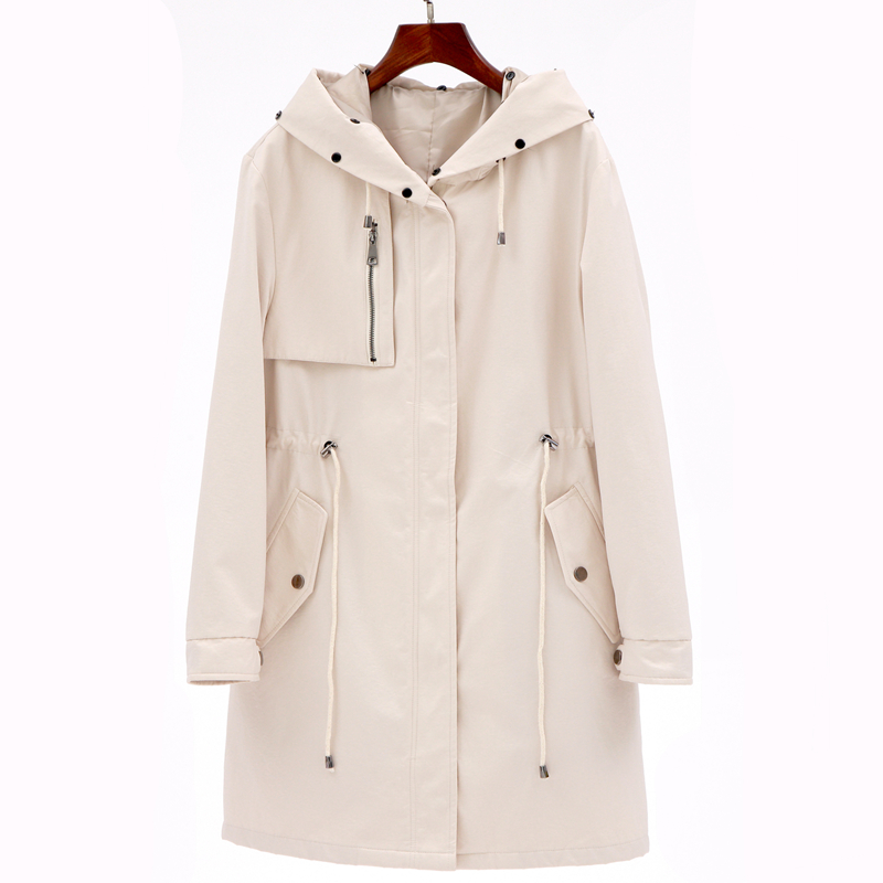 2019 new spring autumn fashion Casual women's khaki   Trench   Coat long Outerwear loose clothes for lady