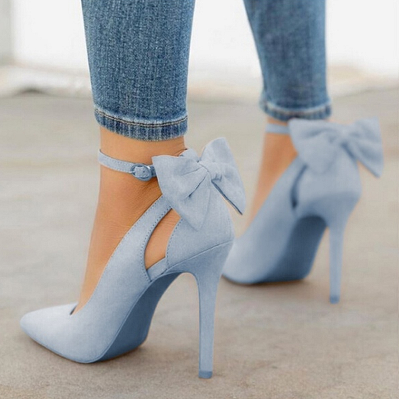 Sexy Women High Heels Pumps Woman Shoes Pointed Toe Buckle Strap Butterfly Summer Party Wedding Ladies Shoes Plus Size 35-43